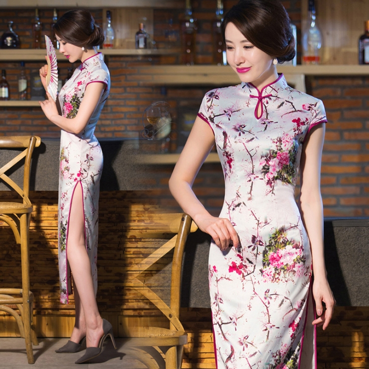Pink-floral-long-qipao-mandarin-collar-Chinese-sheath-floral-dress-FMS-15110D-001